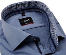 Koszula Venti Body Fit Twill – stalowo niebieska z niebiesko-białą wewnętrzną stójką