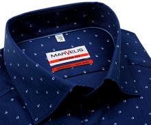 Koszula Marvelis Modern Fit – ciemnoniebieska w jodełkę z delikatnym wzorem