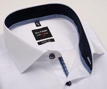 Koszula Olymp Level Five – biała z ciemnoniebieską wewnętrzną stójką i mankietem - extra długi rękaw
