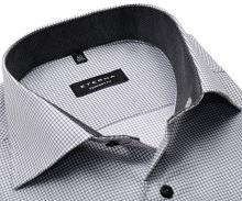 Koszula Eterna Comfort Fit Twill – w szarą kratkę z antracytową wewnętrzną stojką i mankietem