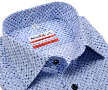 Koszula Marvelis Modern Fit - z drobnym niebieskim wzorem - extra długi rękaw