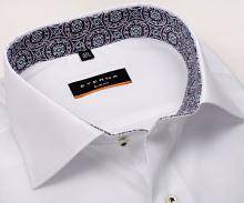 Koszula Eterna Slim Fit Stretch Non Iron – biała z niebiesko-ruźovą wewnętrzną stójką i mankietem