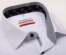 Koszula Marvelis Modern Fit – biała z czarno-bialą stojką wewnętrzną, mankietem i plisą