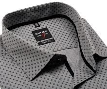 Koszula Olymp Level Five – jasnoszara w jaśniejszą siateczką i z czarnym wzorem - extra długi rękaw