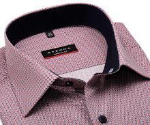 Koszula Eterna Modern Fit - z czerwono-niebieskim wzorem i wewnętrzną stójką - krótki rękaw