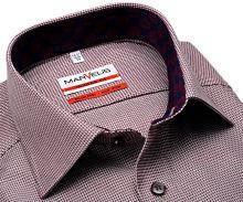 Koszula Marvelis Modern Fit – z czerwonym tkanym wzorem i kołnierzykiem wewnętrznym