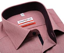 Koszula Marvelis Modern Fit – w czerwoną kratkę i z wyszytym wzorem - extra długi rękaw