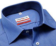 Koszula Marvelis Modern Fit – niebieska w białe mini kropeczki i kołnierzykiem wewnętrznym