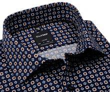 Koszula Olymp Modern Fit – ciemnoniebieska z beżowo-niebieskim wzorem - extra długi rękaw