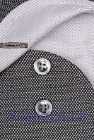 Koszula Marvelis Modern Fit – luksusowa czarnosrebrna ze strukturą, kołnierzykiem i mankietami