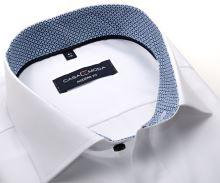 Koszula Casa Moda Modern Fit – biała z niebieską stójką wewnętrzną i mankietem