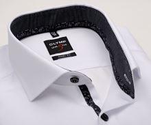 Koszula Olymp Level Five – biała o delikatnej strukturze, z czarnym kołnierzykiem wewnętrznym