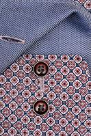 Koszula Olymp Luxor Modern Fit – z czerwono-niebieskim wzorem, niebieską wewnętrzną stójką i mankietem