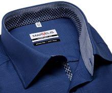 Koszula Marvelis Comfort Fit – niebieska w wyszyty wzór z wewnętrzną stójką i plisą