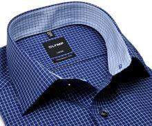 Koszula Olymp Modern Fit – ciemnoniebieska w bialą kosteczkę z wewnętrznym kołnierzykiem - extra długi rękaw