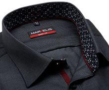 Koszula Marvelis Body Fit – ciemnoszara z wyszytym wzorem kwadratku i wewnętrzną stójką