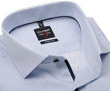 Koszula Olymp Level Five – w drobny niebieski wzór, z wewnętrzną plisą - extra długi rękaw