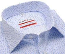 Koszula Marvelis Modern Fit - biała z jasnoniebieskimi ornamentami - extra długi rękaw