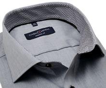 Koszula Casa Moda Modern Fit – jasnoszara z czarno-szarą stójką wewnętrzną i mankietem