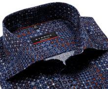 Koszula Eterna Modern Fit Twill - designerska niebieska z pomarańczowo-białym wzorem