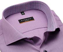 Koszula Eterna Slim Fit – różowa o delikatnej strukturze z wewnętrzną stójką