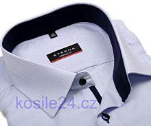 Koszula Eterna Modern Fit – biała z niebieskim tkanym wzorem i kołnierzykiem wewnętrznym, mankietami i plisą