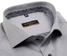 Koszula Eterna Slim Fit Lotus Shirt - szara luksusowa z wewnętrzną stójką - super długi rękaw