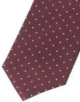 Krawat slim Olymp – bordowy z tkanymi białymi kropeczkami