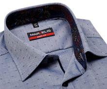 Marvelis Body Fit – niebiesko-biała koszula z wyszytym wzorom i kolorową wewnętrzną stójką