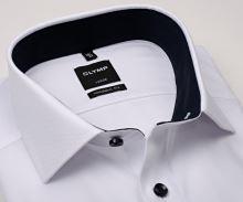 Koszula Olymp Modern Fit Natté – biała z delikatną strukturą i granatową stójką - extra długi rękaw
