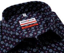 Koszula Marvelis Modern Fit - ciemnoniebieska z trójkolorowymi ornamentami - extra długi rękaw