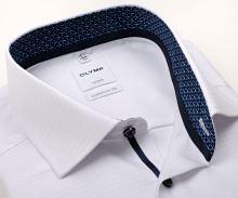 Koszula Olymp Comfort Fit – biała z diagonalną strukturą, niebieską wewnętrzną stójką i mankietem