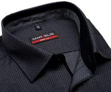 Koszula Marvelis Body Fit – antracytowa z wplecionym wzorem i wewnętrzną stójką i plisą
