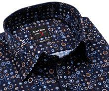 Koszula Olymp Level Five – designerska ciemnoniebieska z brązowo-niebiesko-białym wzorem