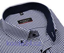 Koszula Eterna Modern Fit – w granatową kratkę z kołnierzykiem wewnętrznym - krótki rękaw