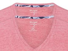 Czerwono-różowy lniany t-shirt Olymp Level Five z krótkim rękawem - dekolt V - korzystny zestaw 2 szt