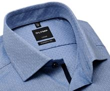 Koszula Olymp Luxor Modern Fit – niebieska z delikatnym wzorem i wewnętrzną plisą - extra długi rękaw