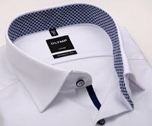 Koszula Olymp Modern Fit – biała z delikatną strukturą i czerwono-niebieską wewnętrzną stójką