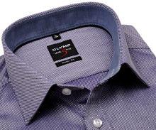 Koszula Olymp Level Five – fioletowa koszula z wyszytym wzorem, wewnętrzną stójką i mankietem