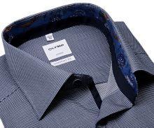 Koszula Olymp Comfort Fit – z wyszytą ciemnoniebieską krateczką i kolorową stójką - extra długi rękaw