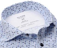 Koszula Olymp Super Slim 24/Seven – luksusowa elastyczna z niebieskimi ornamentami