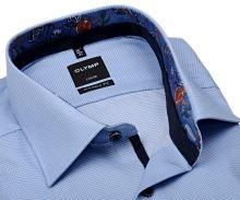 Koszula Olymp Modern Fit – z wyszytą jasnoniebieską krateczką i kolorową wewnętrzną stójką - extra długi rękaw