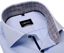 Koszula Venti Modern Fit Twill – jasnoniebieska z niebiesko-brązową wewnętrzną stójką i mankietem