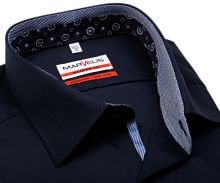 Koszula Marvelis Modern Fit – ciemnoniebieska z niebiesko-bialą stójką wewnętrzną, mankietem i plisą
