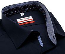 Koszula Marvelis Modern Fit – ciemnoniebieska z niebiesko-bilą stojką wewnętrzną, mankietem i plisą