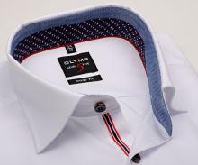 Koszula Olymp Level Five – biała z czerwono-niebieską wewnętrzną stójką - krótki rękaw