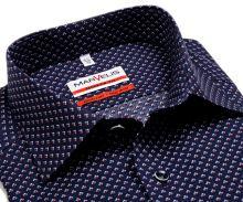 Koszula Marvelis Modern Fit - granatowa z czerwono-biało-niebieskim wzorem - extra długi rękaw