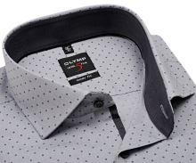 Koszula Olymp Level Five – szara z antracytową wewnętrzną stójką i mankietem - extra długi rękaw