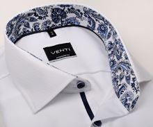 Koszula Venti Modern Fit – biała z delikatną strukturą i designerską stójką wewnętrzną