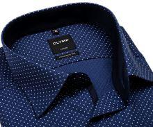Koszula Olymp Modern Fit – niebieska z wyszywanym wzorem i białymi znakami